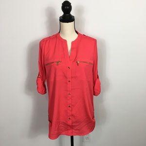 Woman's Calvin Klein Zip pocket utility  Blouse